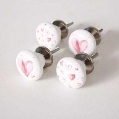 Gałki ceramiczne do mebli SERCE zestaw 4szt