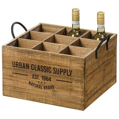 Skrzynka drewniana na butelki, pojemnik na wino SUPPLY