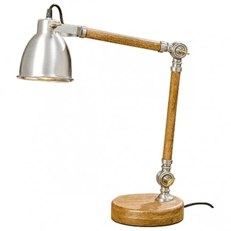 Lampka biurkowa drewniana MANGO, lampa stołowa