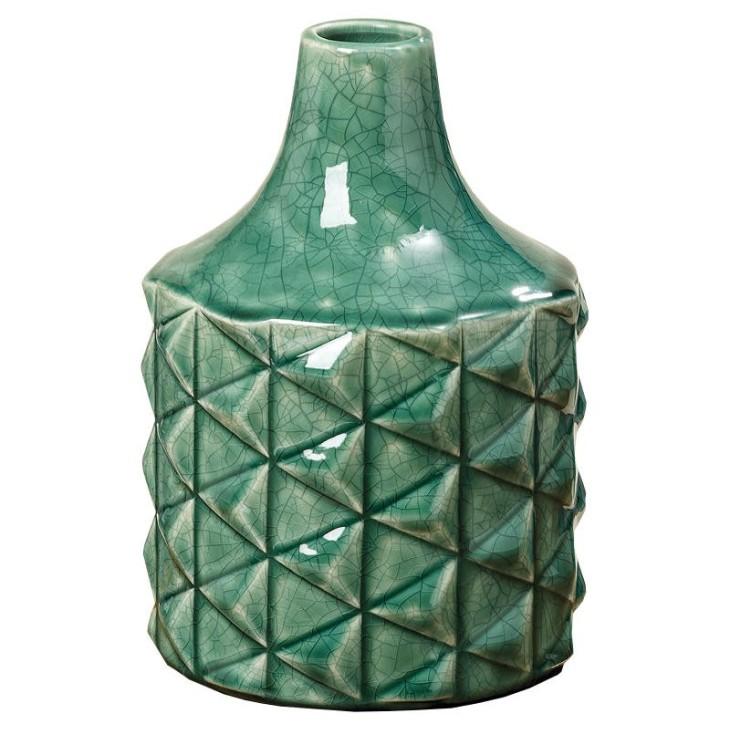 Wazon ceramiczny EDINA, flakon zielony z kamionki 20.5cm Boltze 1007318