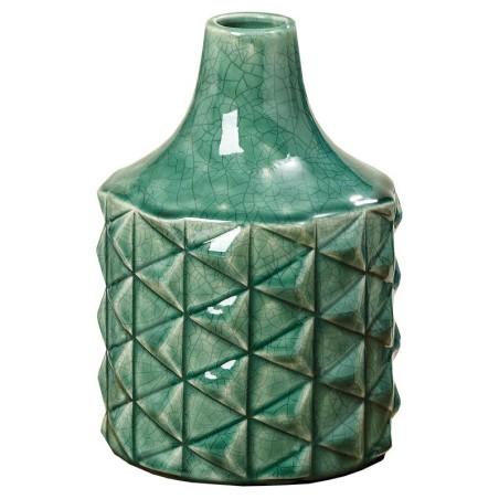Wazon ceramiczny EDINA, flakon zielony z kamionki 20.5cm