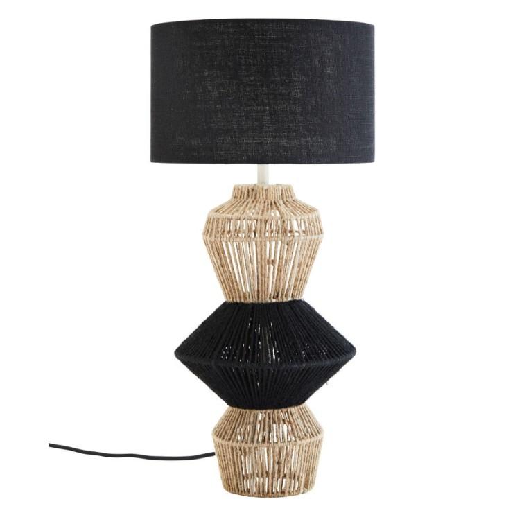 Lampa stołowa AKKA, jutowa, lniana, metalowa 61 cm Madam Stoltz 101-13010