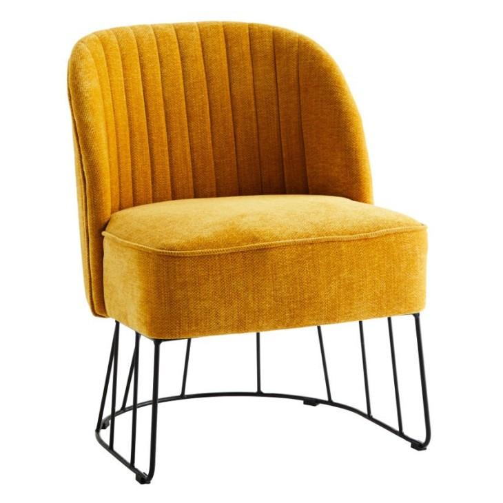 Fotel tapicerowany CHENILLE, żółty, z metalową podstawą Madam Stoltz 7MQH5878-Y