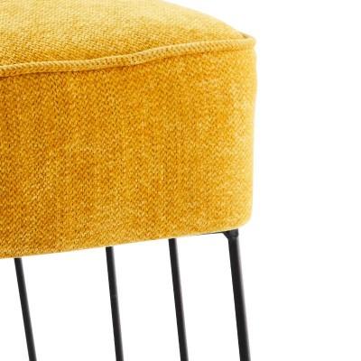 Fotel tapicerowany CHENILLE, żółty, z metalową podstawą