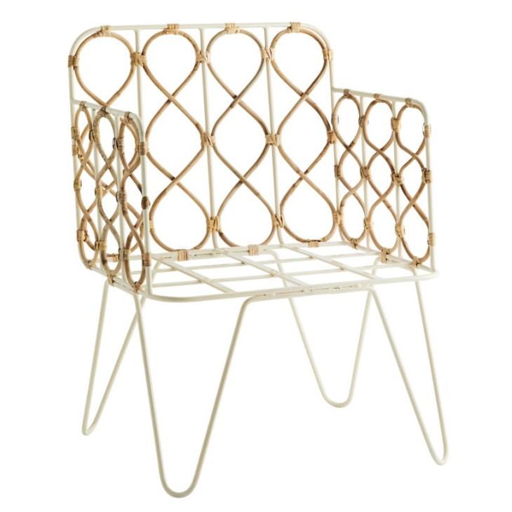 Fotel BAMBOO, metalowy, bambusowy, naturalny Madam Stoltz 22604C