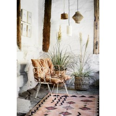 Fotel BAMBOO, metalowy, bambusowy, naturalny