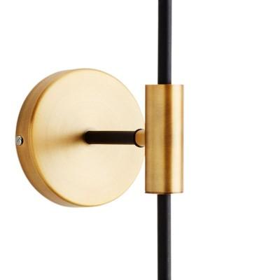 Kinkiet AMBER, lampa ścienna metalowa, mosiężna, czarna