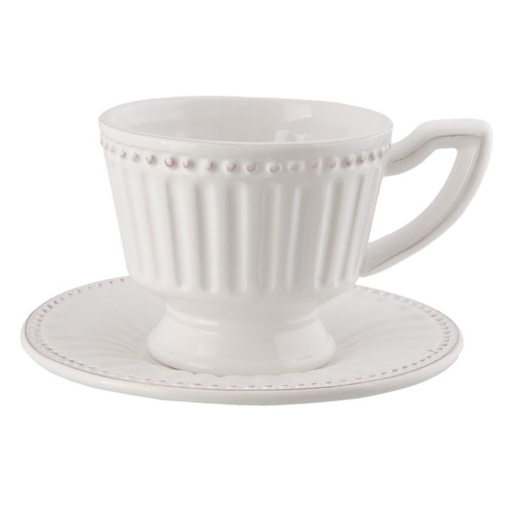 Filiżanka ze spodkiem z białej porcelany Clayre & Eef ECKS