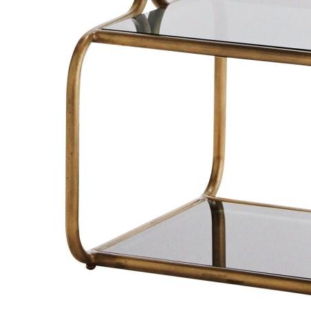 Regał metalowy z mosiądzu i czarnego szkła, czteropoziomowa półka