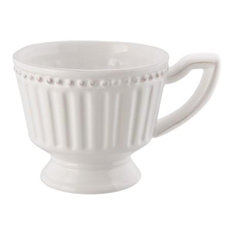 Filiżanka ze spodkiem z białej porcelany