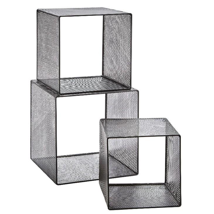 Półki wiszące, metalowe regały wiszące, czarne, zestaw 3 sztuki Madam Stoltz 21797BL