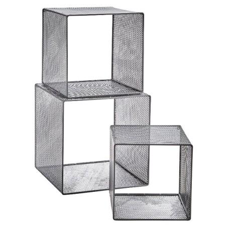 Metalowe półki na ścianę wiszące, szare, zestaw 3 sztuki