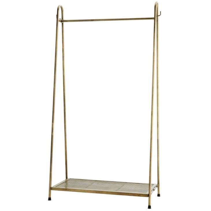 Wieszak z półką, stojący, metalowy antyczny mosiądz Madam Stoltz H016
