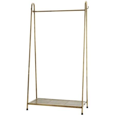 Wieszak z półką, stojący, metalowy antyczny mosiądz