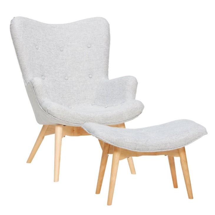 Fotel z podnóżkiem RECLINER, tapicerowany, szary, z drewna Hubsch 100305