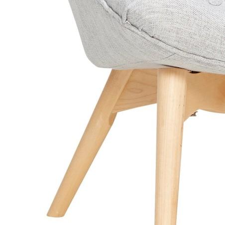 Fotel z podnóżkiem RECLINER, tapicerowany, szary, z drewna