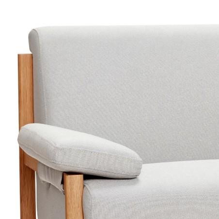 Sofa dwuosobowa GREY tapicerowana szara z drewnianymi nogami