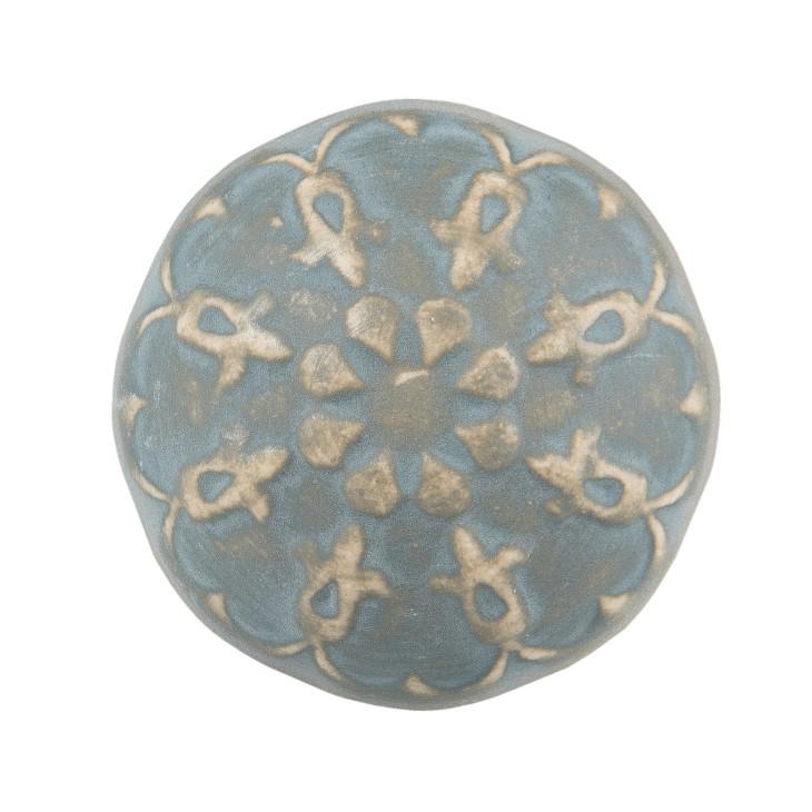 Gałka do mebli ceramiczna błękitno - beżowa 1 Clayre & Eef 63877