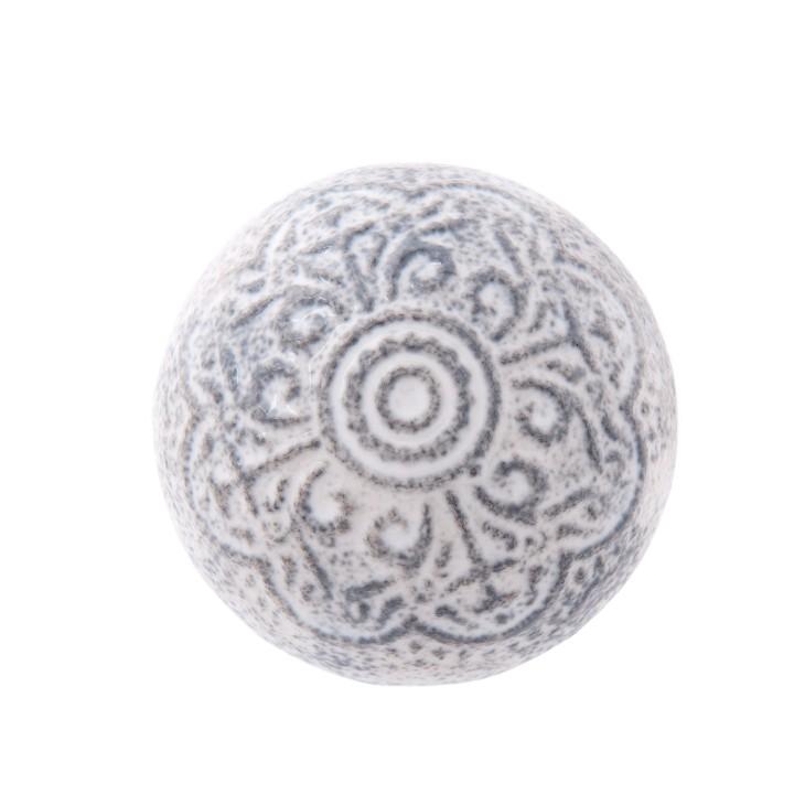 Gałka do mebli ceramiczna szaro - biała Clayre & Eef 63824