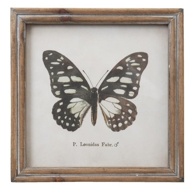 Grafika w drewnianej ramie z czarnym motylem, dekoracja Clayre & Eef 63718