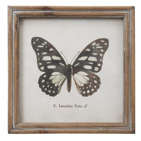 Grafika w drewnianej ramie z czarnym motylem, dekoracja