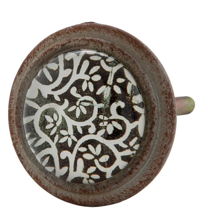 Gałka szklana do mebli w stylu hiszpańskim czarno - biała Clayre & Eef 63296