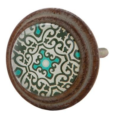 Gałka do mebli w stylu hiszpańskim zielono - turkusowa