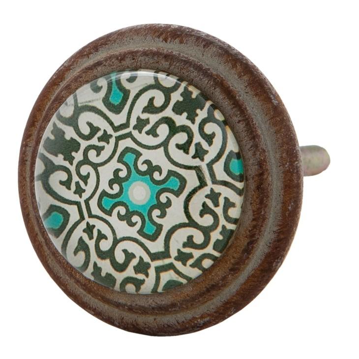Gałka szklana do mebli turkusowa w stylu hiszpańskim Clayre & Eef 63295