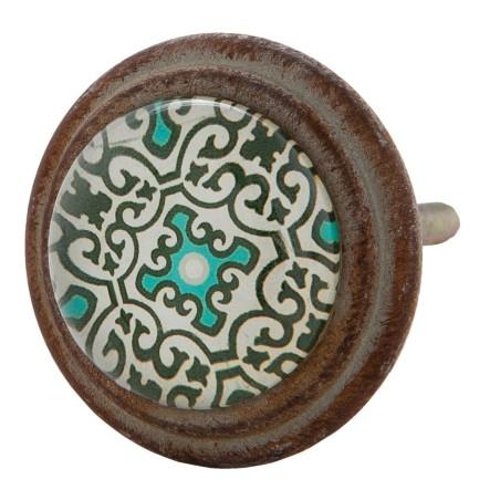 Gałka szklana do mebli turkusowa w stylu hiszpańskim