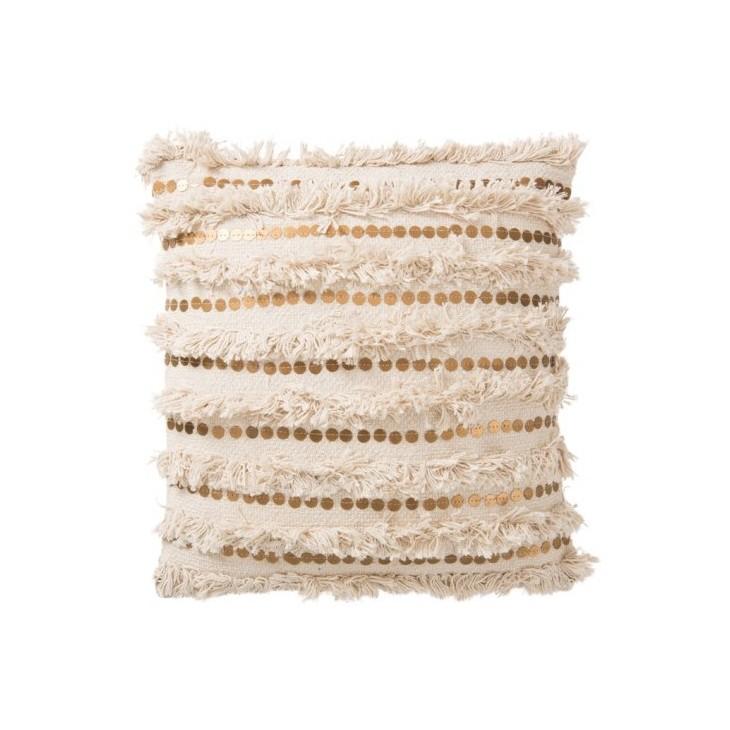 Poduszka futrzana z frędzlami PEARL kremowo-złota 45x45cm J-LINE 84303