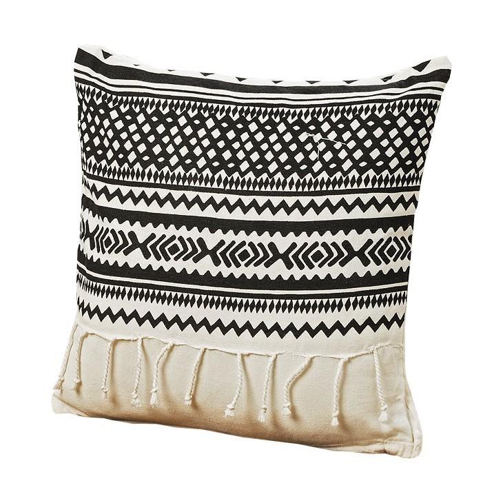 Poduszka dekoracyjna z frędzlami SHIMA 40x40cm czarno-biała Boltze 8227100.2