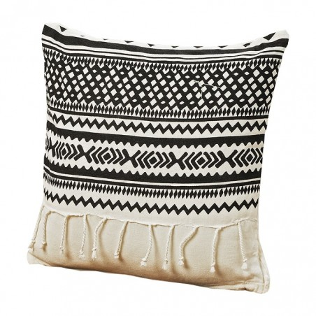 Poduszka dekoracyjna z frędzlami SHIMA 40x40cm czarno-biała