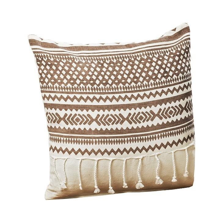 Poduszka dekoracyjna z frędzlami SHIMA 40x40cm brązowo-biała Boltze 8227100.1