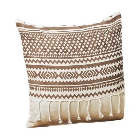 Poduszka dekoracyjna z frędzlami SHIMA 40x40cm brązowo-biała