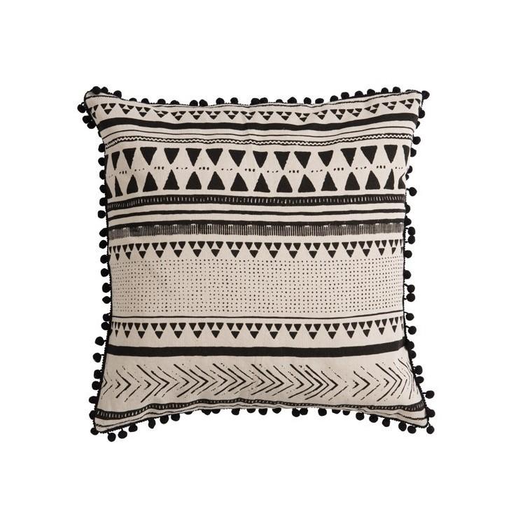 Poduszka dekoracyjna bawełniana BOHO biało-czarna 45x45cm J-LINE 83521.1