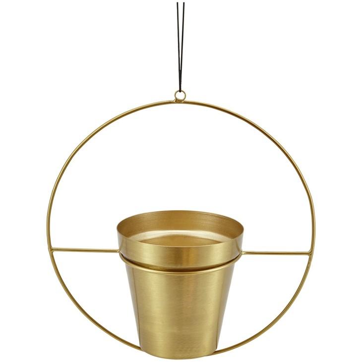 Doniczka wisząca RING metalowa, złota LIV-INTERIOR 112.100.98