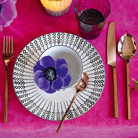 Talerz ozdobny ceramiczny z czarnym wzorem 20.5 cm