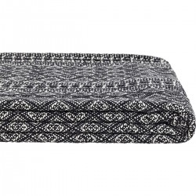 Pled DIAMOND ze wzorem, koc bawełniany, narzuta, czarna, naturalna, 130 x 180cm