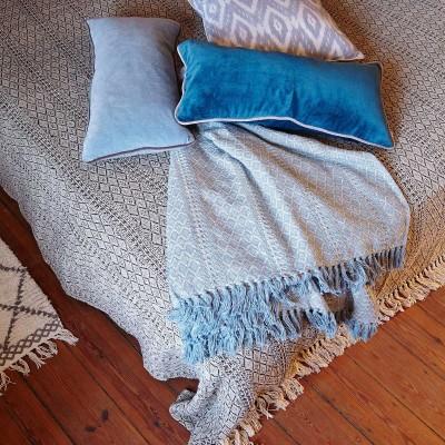 Pled DIAMOND ICE ze wzorem, koc bawełniany, narzuta, błękitna, naturalna, 130 x 180cm