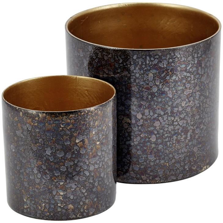 Doniczka metalowa szaro złota 13cm LIV-INTERIOR 112.100.93/1