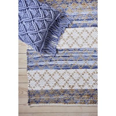Poduszka MACRAME, bawełniana, błękitna 40 x 60 cm
