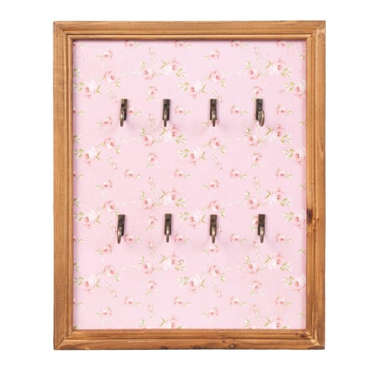 Wieszak na klucze drewniany różowy z haczykami Clayre & Eef 62733