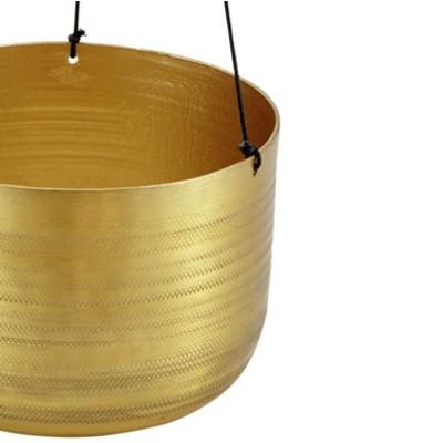Doniczka wisząca złota ze wzorem