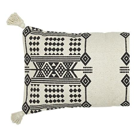 Poduszka EMBROIDERY bawełniana, naturalna, czarna, poduszka ze wzorem