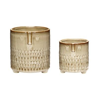 Doniczka ceramiczna AZTEC beżowa 14 x 15 cm