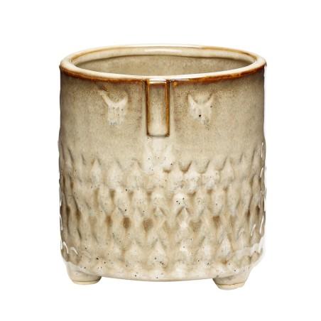 Doniczka ceramiczna AZTEC beżowa 11 x 11 cm