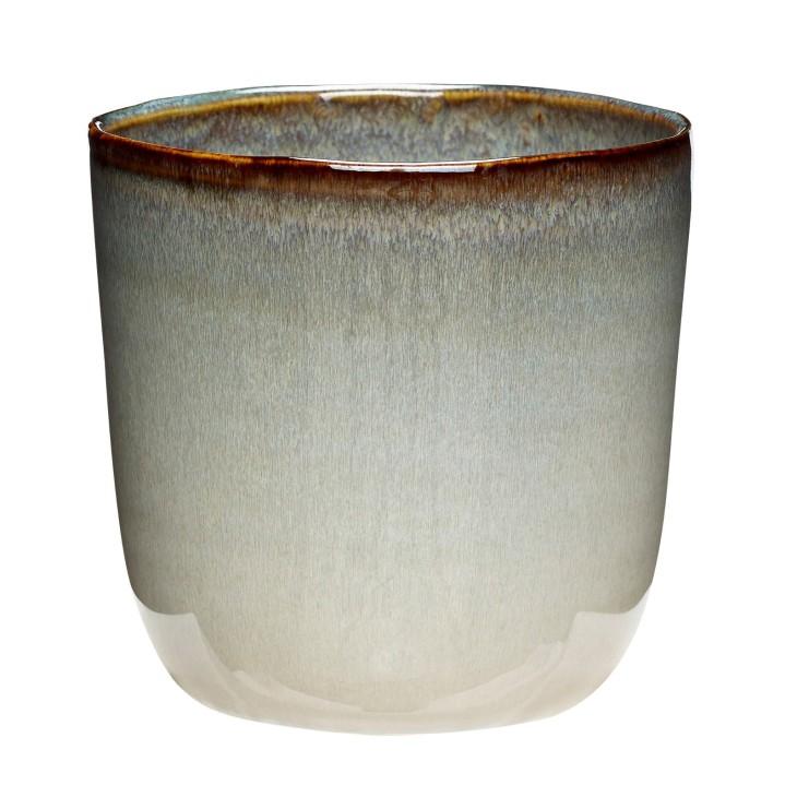 Doniczka ceramiczna BEIGE beżowa, błękitna 14 x 13 cm Hubsch 670810.2