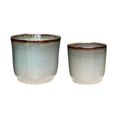Doniczka ceramiczna BEIGE beżowa, błękitna 14 x 13 cm