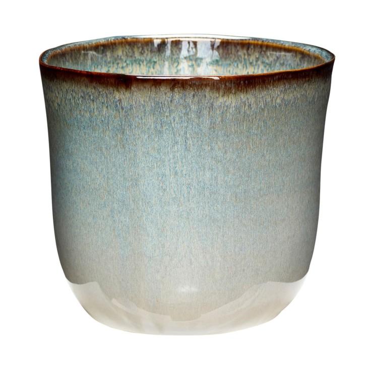 Doniczka ceramiczna BEIGE beżowa, błękitna 17 x 15 cm Hubsch 670810.1
