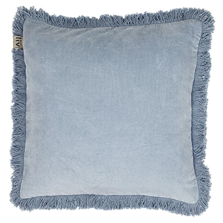Poszewka Na Poduszkę Ice Aksamitna Z Frędzlami Błękitna 45 X 45 Cm Liv Interior